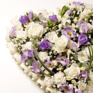 Wreaths and Pillows - White and Purple Love Heart