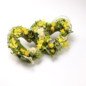 Wreaths and Pillows - Two Yellow Hearts